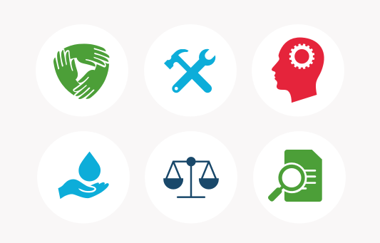 Six research programme (work stream) icons