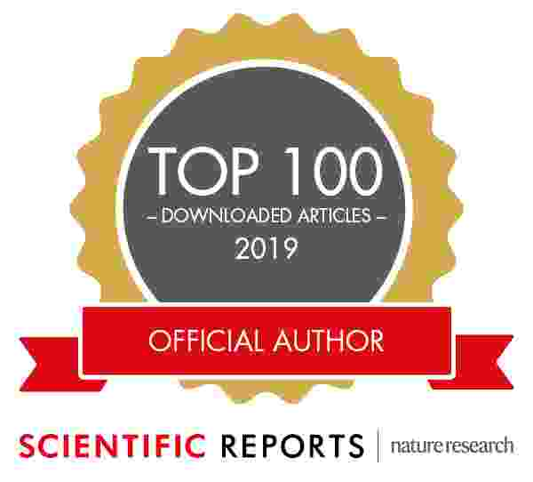 Scientific Reports Nature research top 100 downloads badge